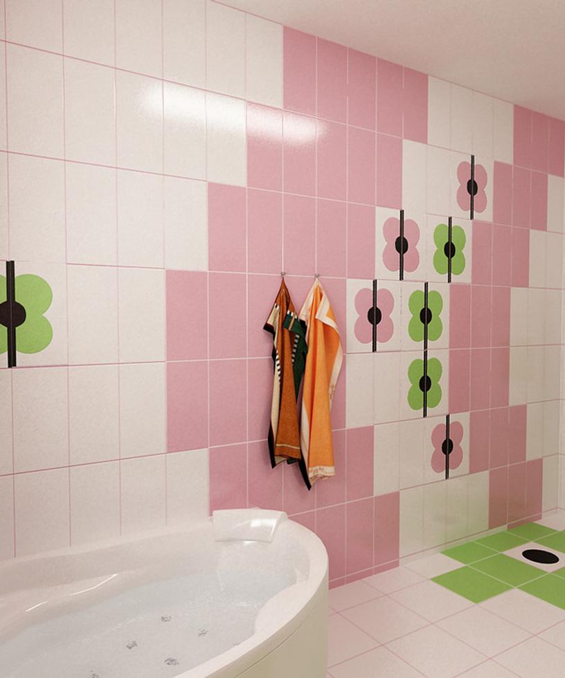 Bilder - 3D Interieur Badezimmer Grün-Rosa 'Ral Fete' 9