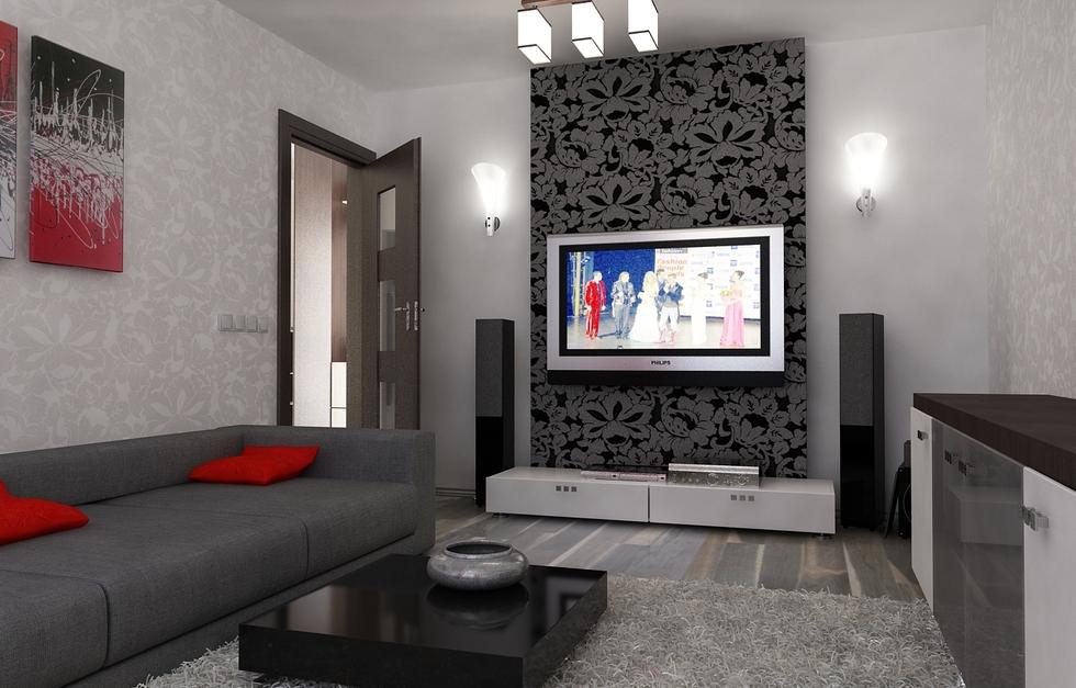Bilder - 3D Interieur Wohnzimmer Rot-Grau 1