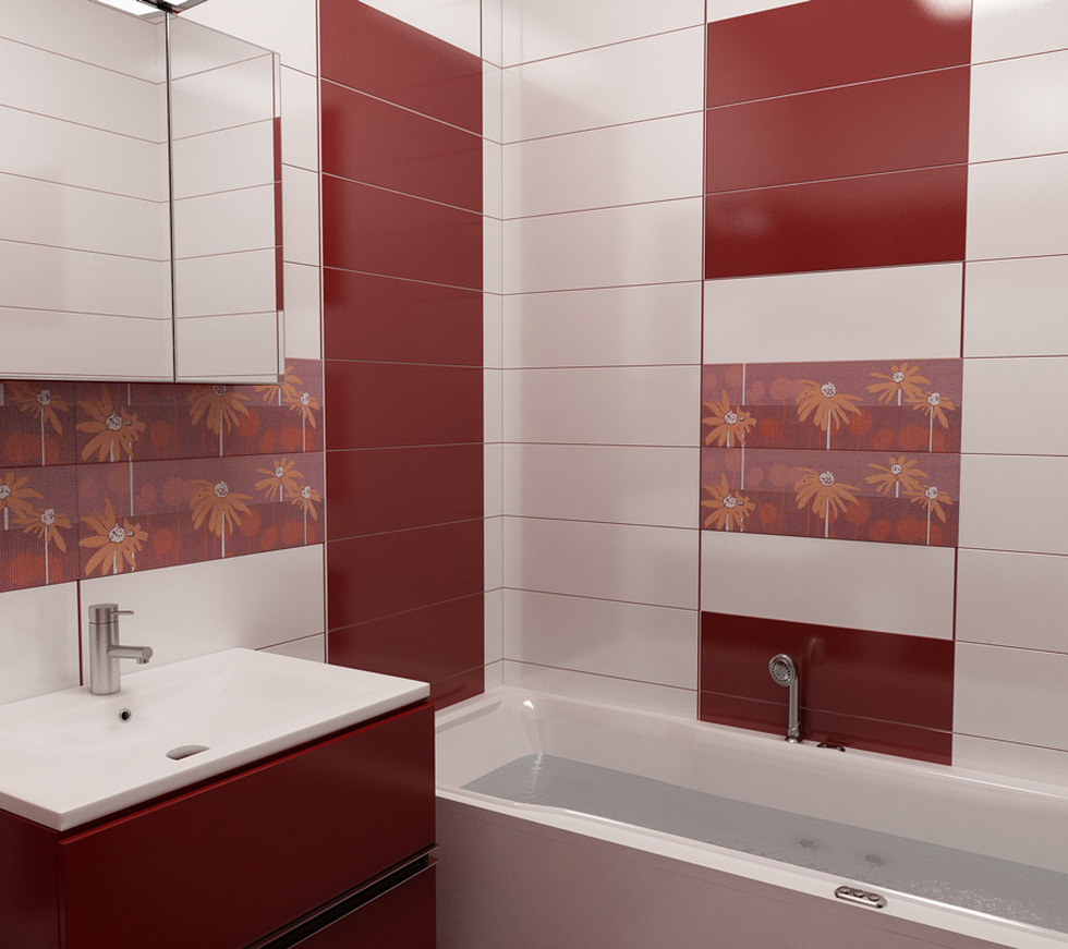 Bilder - 3D Interieur Badezimmer Rot-Weiß Val Baie 2