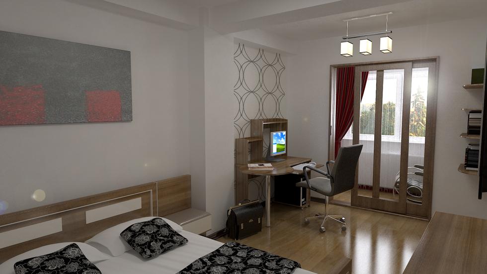 3D Interieur Schlafzimmer Grau Braun 3