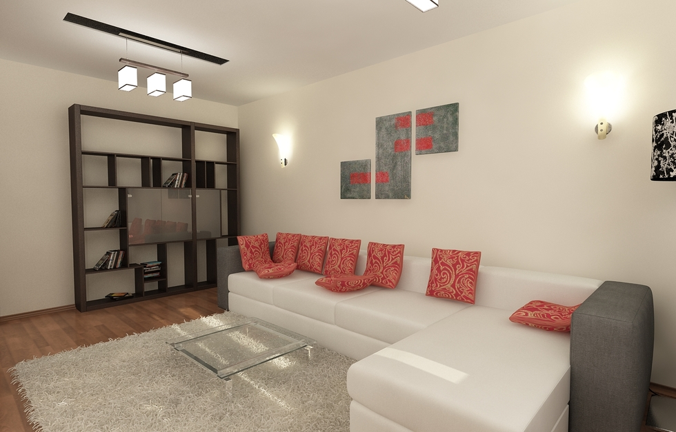 3D Interieur Wohnzimmer Grau Gold 2