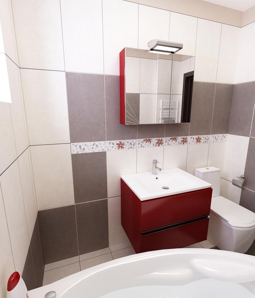 Bilder 3d interieur badezimmer rot grau 39 baie damasco 39 5 for Badezimmer grau