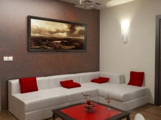 bilder - 3d interieur wohnzimmer rot-weiß 2 - Bilder Wohnzimmer Rot