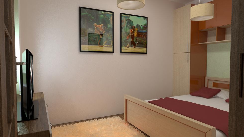Bilder - 3D Interieur Schlafzimmer Rot-Braun 3