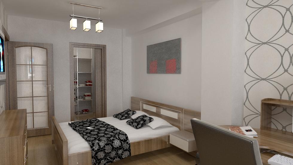 3D Interieur Schlafzimmer Grau Braun 1