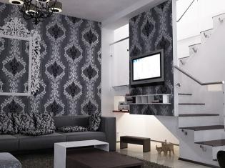 bilder - 3d interieur wohnzimmer schwarz-weiß 'valea lupului' 5