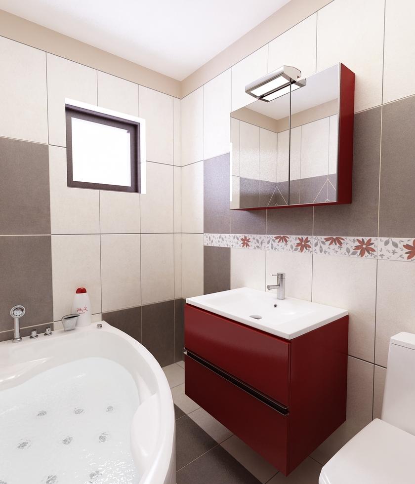 Charming 3D Interieur Badezimmer Rot Grau  Amazing Design