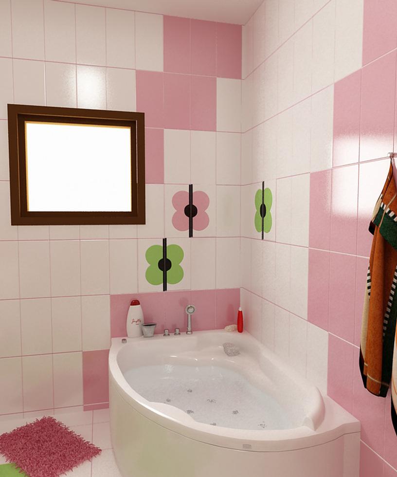 Bilder - 3D Interieur Badezimmer Grün-Rosa \'Ral Fete\' 11