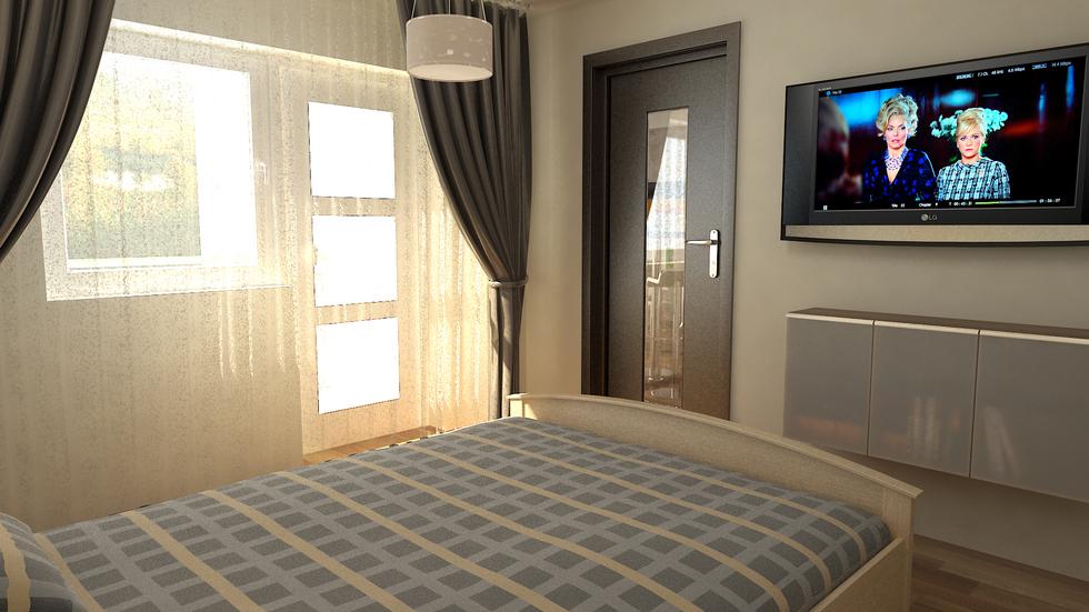 bilder - 3d interieur schlafzimmer beige-blau 1 - Schlafzimmer Beige Blau