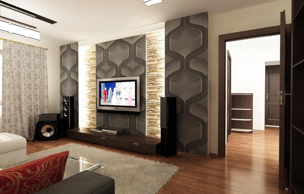 3D Interieur Wohnzimmer Grau Orange 4