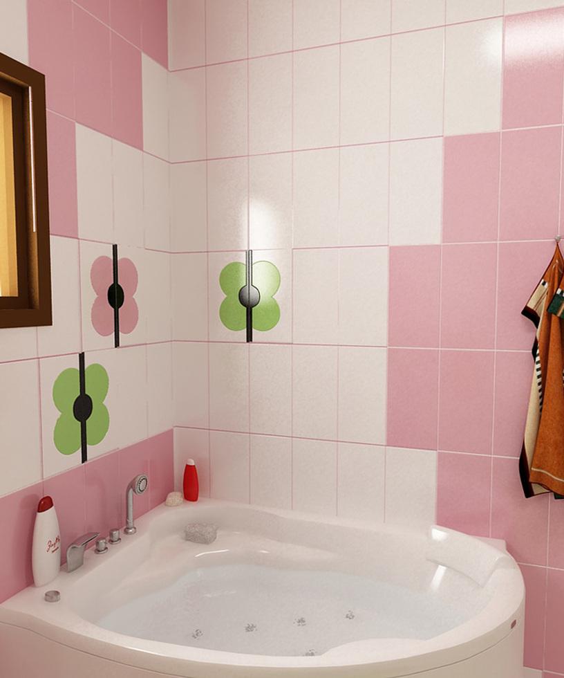 Hierbei Handelt Es Sich Um Ein Badezimmer Mit Rosa Und Grünen Fliesen. Die  Farbauswahl Rosa, Grün Und Weiß Und Ihre Kombination Lassen Das Bad Frisch  Und ...