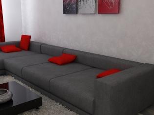 bilder 3d interieur wohnzimmer rot grau 2 - Wohnzimmer Grau Und Rot