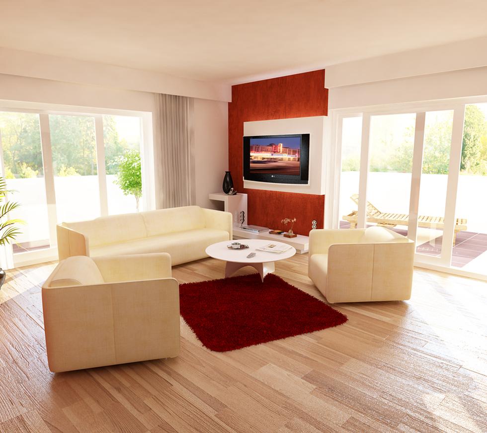 Bilder - 3D Interieur Wohnzimmer Orange-Weiß \'Val Living Ref\' 3