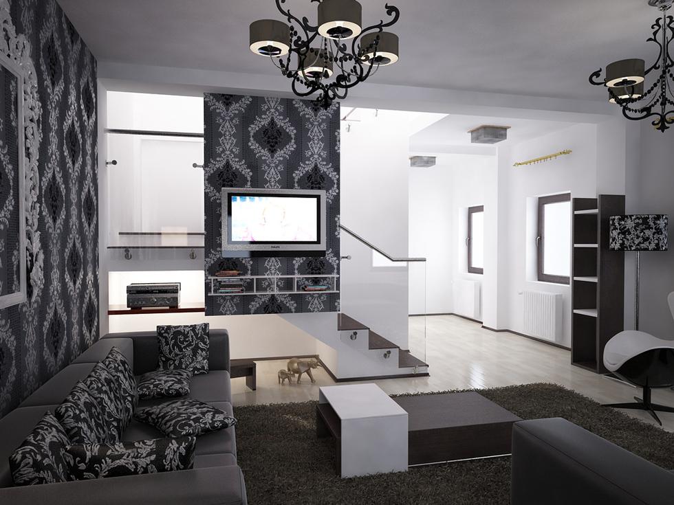 Bilder - 3D Interieur Wohnzimmer Schwarz-Weiß \'Valea Lupului\' 4