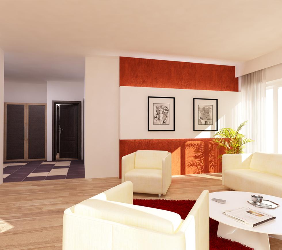 Bilder - 3D Interieur Wohnzimmer Orange-Weiß \'Val Living Ref\' 1