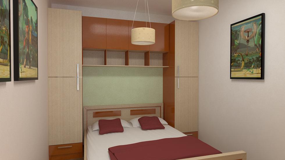 Bilder - 3D Interieur Schlafzimmer Rot-Braun 2