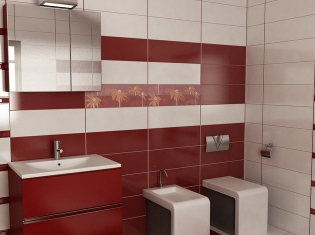 Bilder for Badezimmer fliesen rot