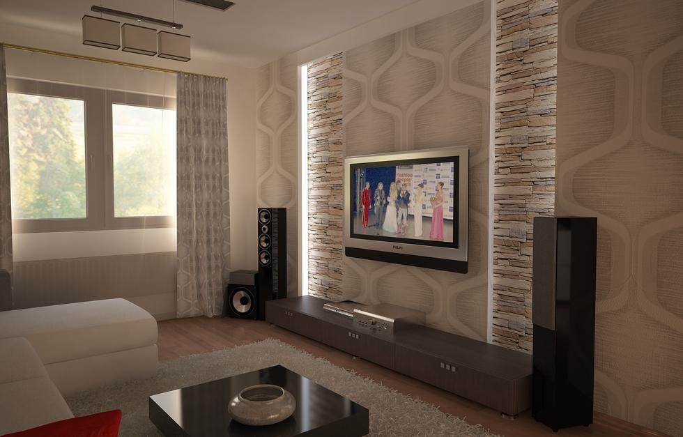 Bilder - 3D Interieur Wohnzimmer Weiß-Beige 2