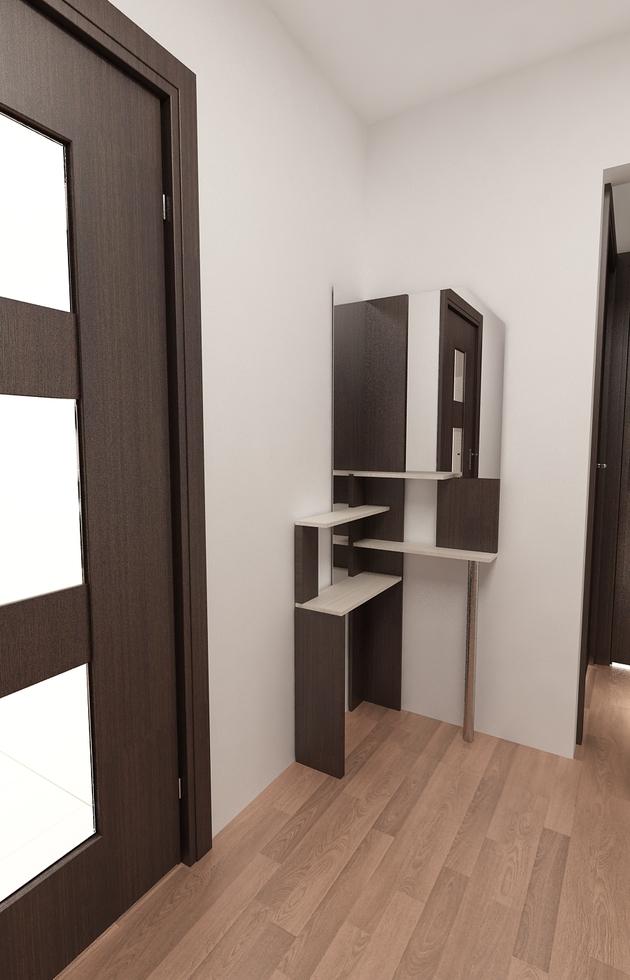 3D Interieur Garderobe Braun Weiß 9