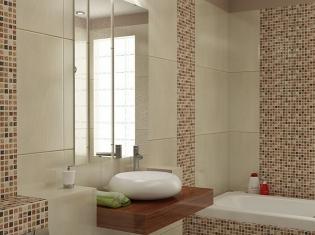 3D Interieur Badezimmer Braun-Beige-Weiß \\\