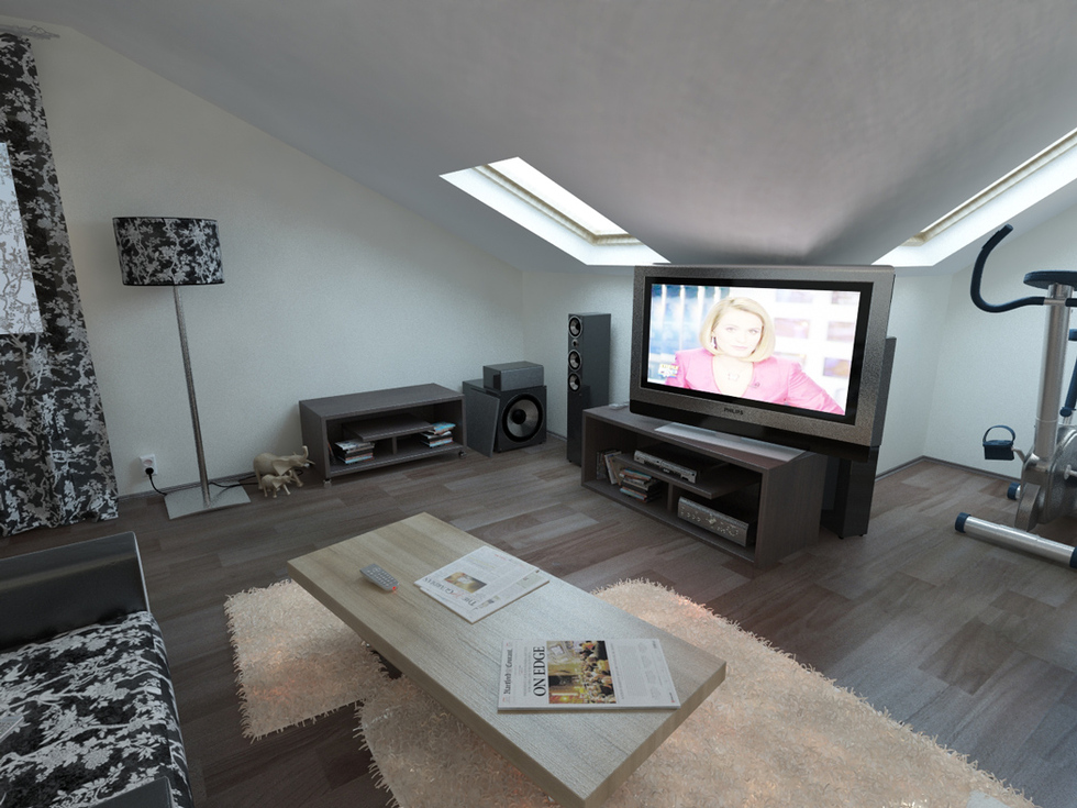 Bilder - 3D Interieur Wohnzimmer Braun-Beige 4