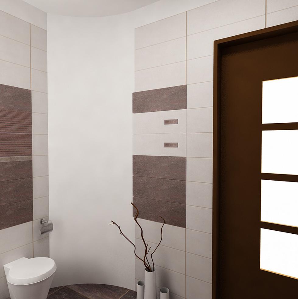 3D Interieur Badezimmer Weiß Braun