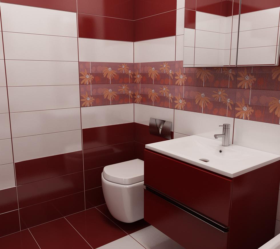 Bilder - 3D Interieur Badezimmer Rot-Weiß Val Baie 3