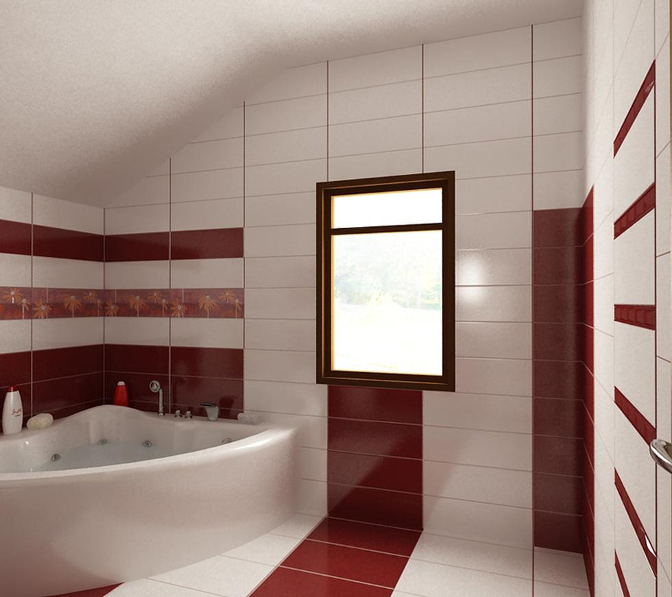 Bilder 3d Interieur Badezimmer Rot Weiss Baie Ral Arnisal 10