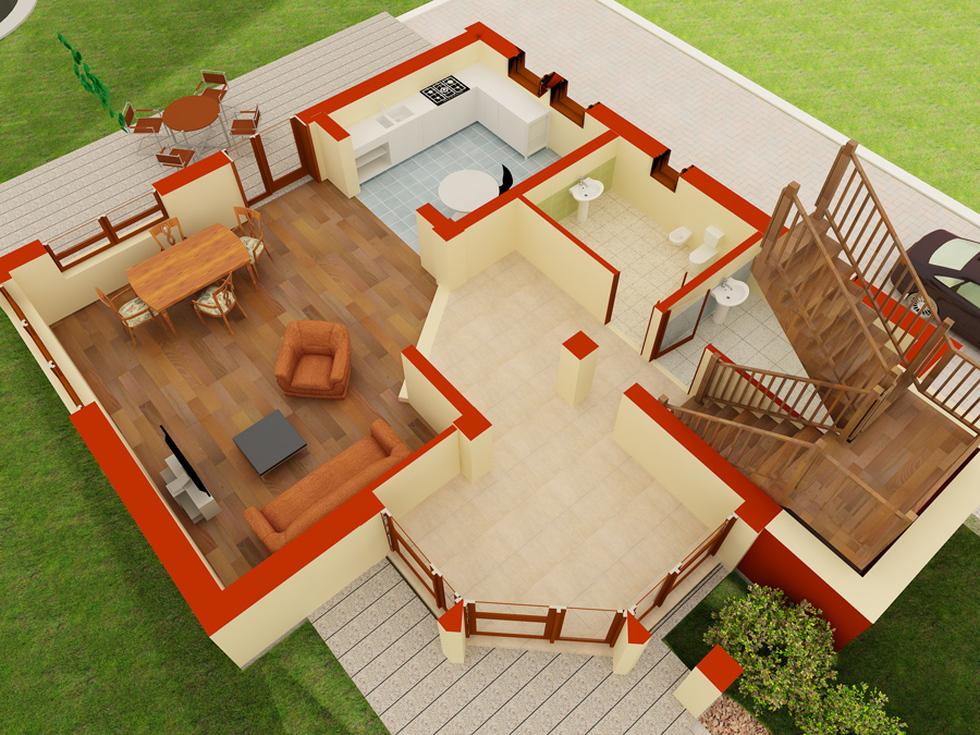 Bilder 3d plan einfamilienhaus rot beige 39 cartier galaxy 39 2 for Einfamilienhaus plan