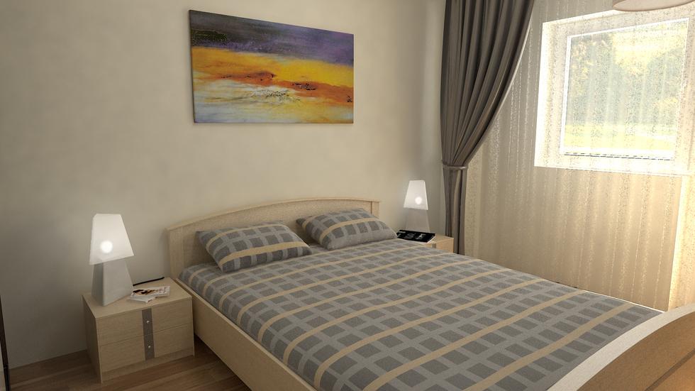 3D Interieur Schlafzimmer Beige Blau 2