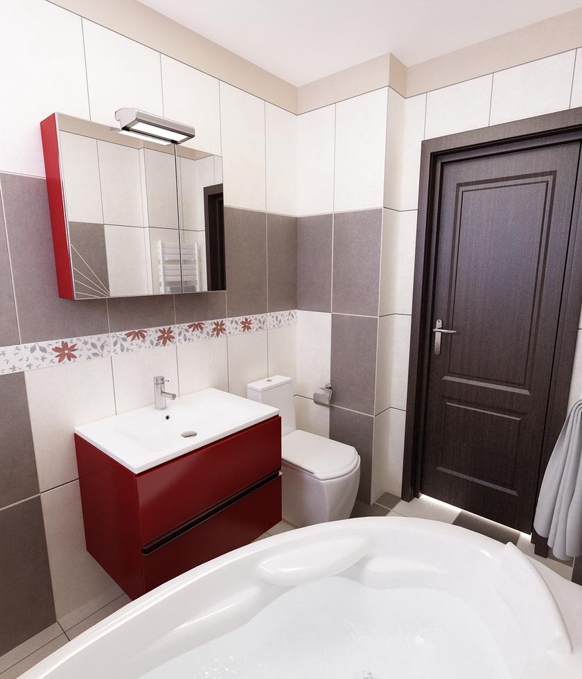 Bilder 3d interieur badezimmer rot grau 39 baie damasco 39 6 for Badezimmer grau