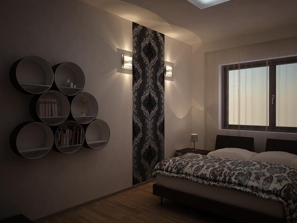Bilder - 3d Interieur Schlafzimmer Schwarz-weiß 'val Cam Night' 1 Schlafzimmer Einrichten 3d