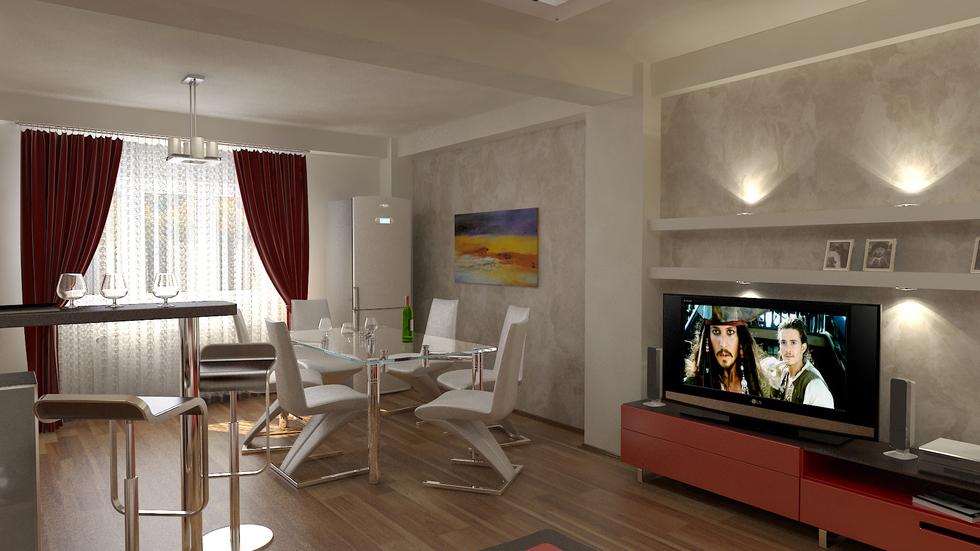 Bilder - 3D Interieur Esszimmer und Wohnzimmer Rot-Weiß 5