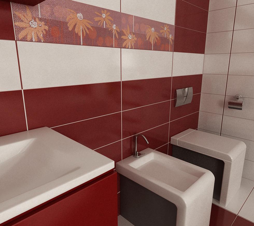 bilder - 3d interieur badezimmer rot-weiß 'baie ral arnisal' 4, Badezimmer ideen