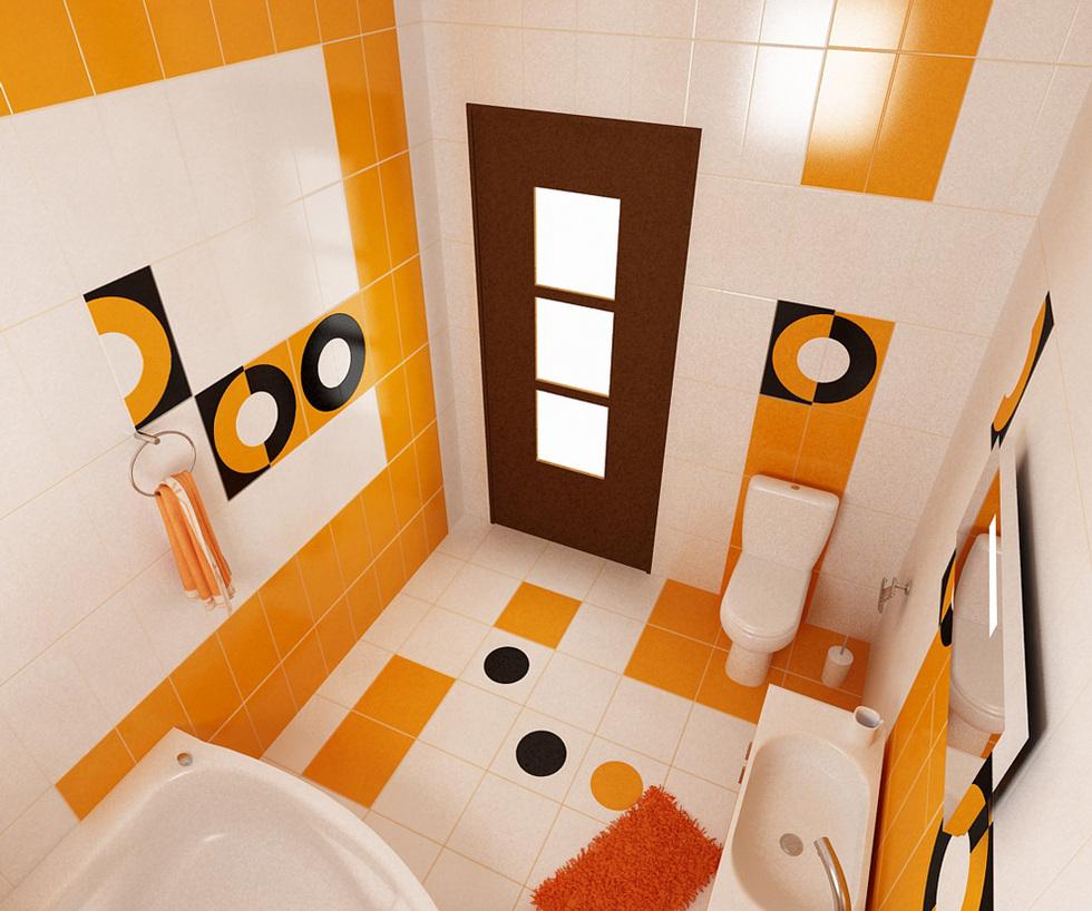 bilder - 3d interieur badezimmer orange-schwarz 'baie biosfarm' 3