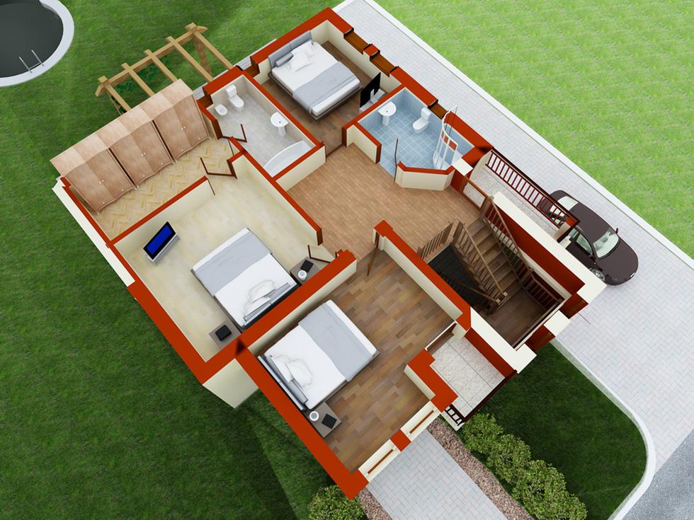 Bilder 3d plan einfamilienhaus rot beige 39 cartier galaxy 39 4 for Einfamilienhaus plan