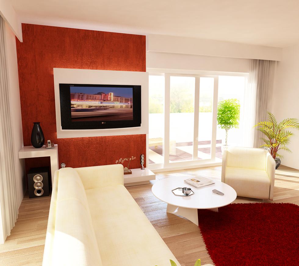 Bilder - 3D Interieur Wohnzimmer Orange-Weiß \'Val Living Ref\' 2