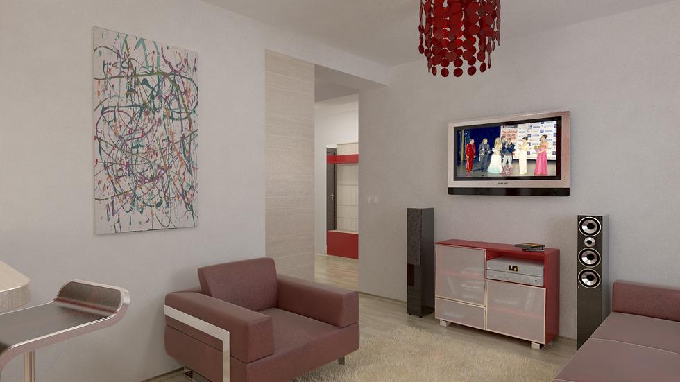 Bilder - 3D Interieur Wohnzimmer Rot-Beige 2
