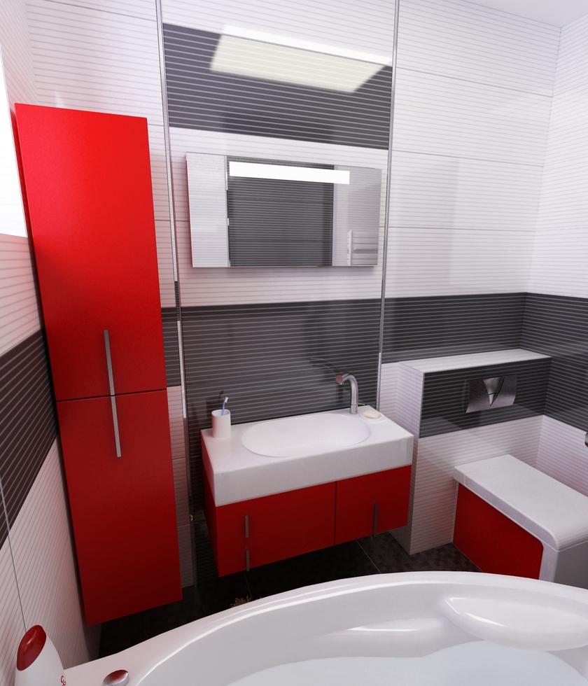 Badezimmer Rot Schwarz : Bilder 3D Interieur Badezimmer ...