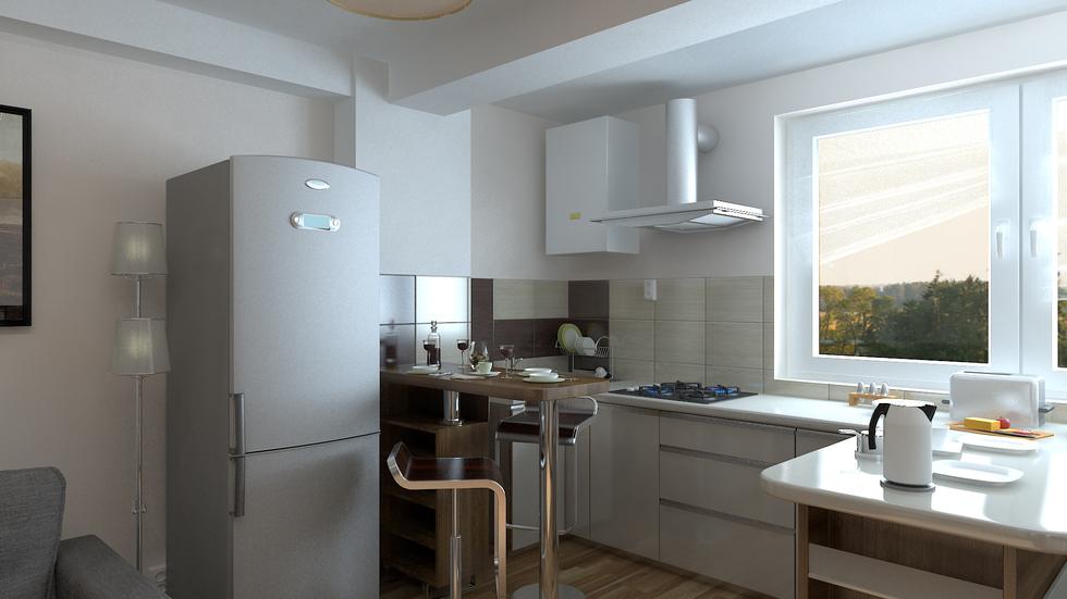 Bilder - 3D Interieur Küche Braun-Weiß 3