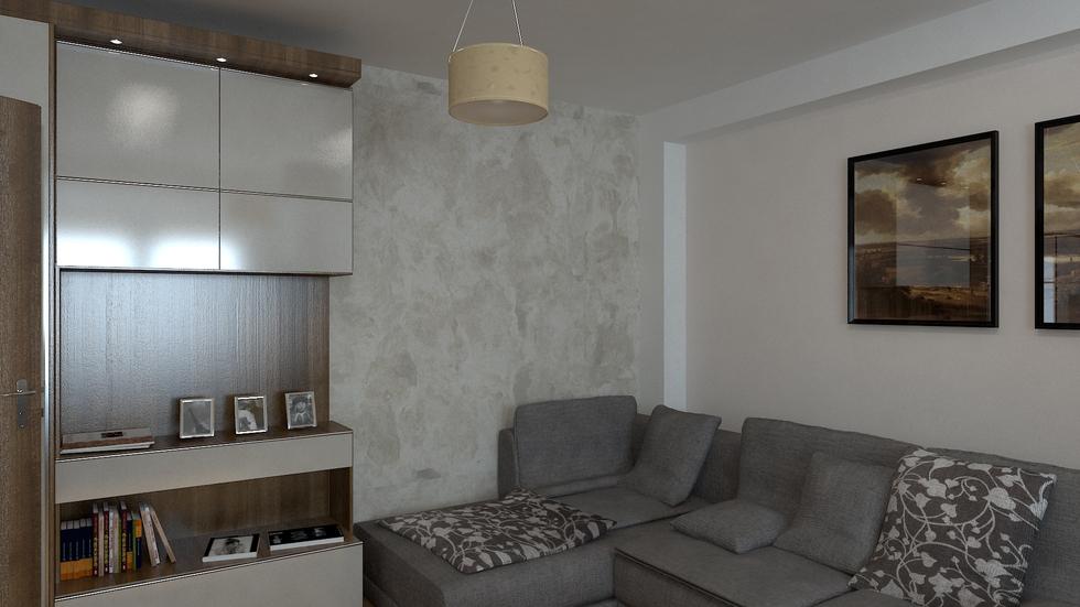 3D Interieur Wohnzimmer Braun Weiß 2