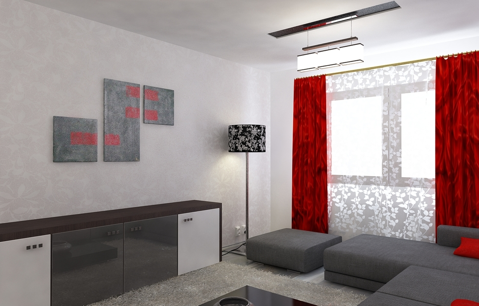Attractive 3D Interieur Wohnzimmer Rot Grau 3 Great Pictures