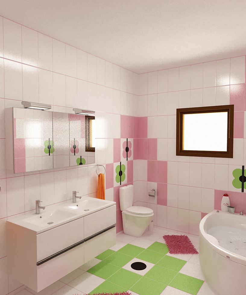 Bilder - 3D Interieur Badezimmer Grün-Rosa Ral Fete 13