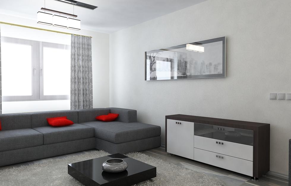 Wohnzimmer Grau Rot ~ Bilder 3D Interieur Wohnzimmer Rot Grau 10