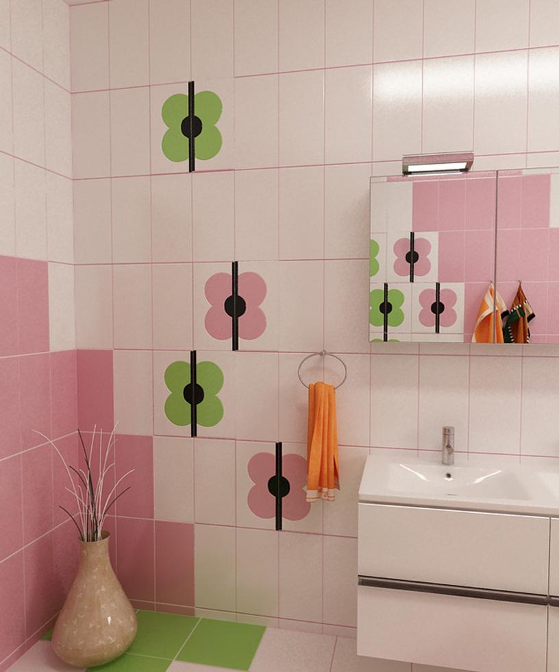 Bilder - 3D Interieur Badezimmer Grün-Rosa \'Ral Fete\' 6
