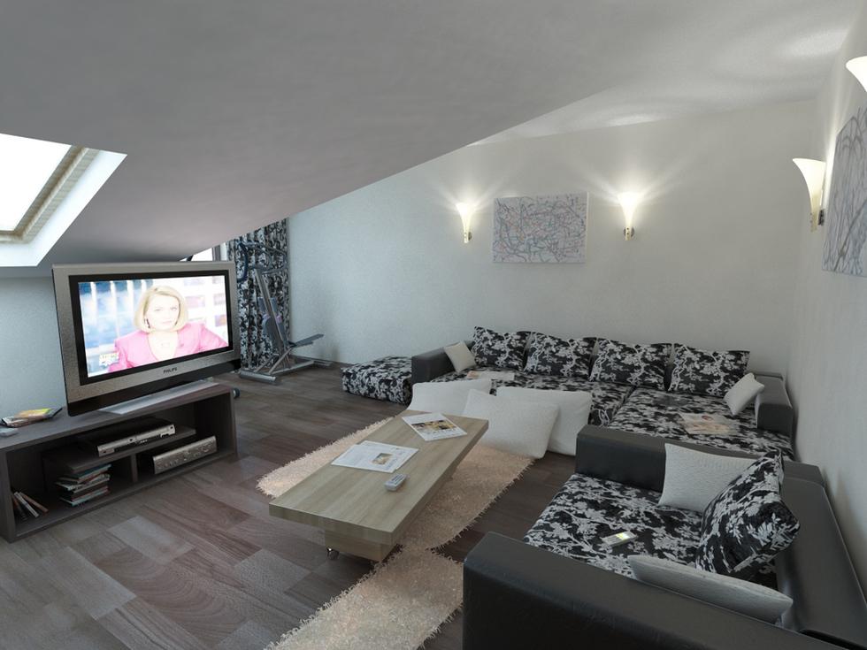 Bilder - 3D Interieur Wohnzimmer Braun-Beige 5