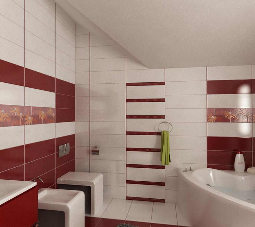 Bilder 3d Interieur Badezimmer Rot Weiss Baie Ral Arnisal 12