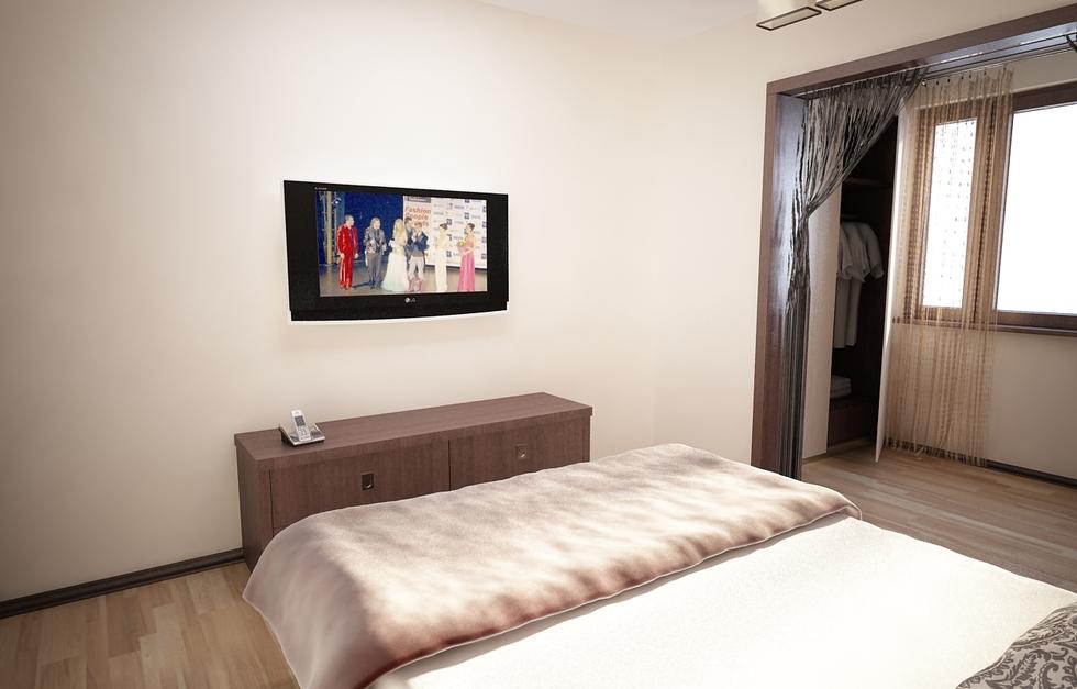 Bilder - 3D Interieur Schlafzimmer Beige-Weiß 1