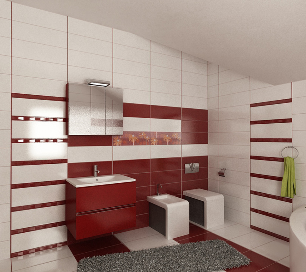 Bilder - 3D Interieur Badezimmer Rot-Weiß Baie Ral Arnisal 13