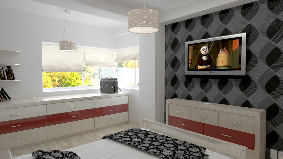 bilder 3d interieur schlafzimmer schwarz wei 2. Black Bedroom Furniture Sets. Home Design Ideas